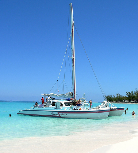 Our catamaran anchored off Rose Island